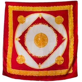 Authentic Greek Silk Shawl / Scarf w/ Byzantine Shield Motif – Burgundy and Gold Tones