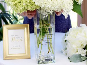 Botanical Theme Memorial Flower Vase with Sympathy Verse
