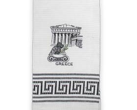 Embroidered Kitchen Towel featuring Parthenon and Owl