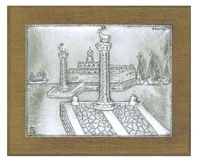 Rhodes (Rodos) Silver Engraving Wall Decoration