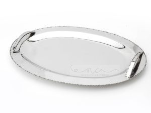 Beaded Oval Silver Tray with Beadking and Handles