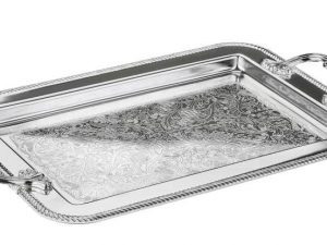 Rectangle Silver Tray with Handles for Stefana