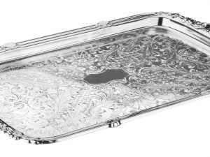 Oblong Silver Tray with Integral Handles for Stefana
