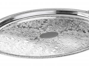 Shallow Oval Silver Tray with Handles for Stefana
